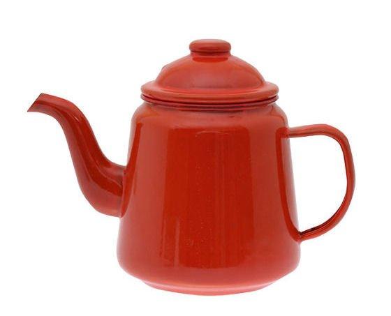 Red Falcon enamelware teapot