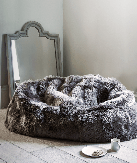 Double Sheepskin Beanbag in Mink from Cox and Cox