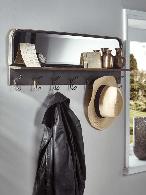 Industrial Mirror with shelf and hooks