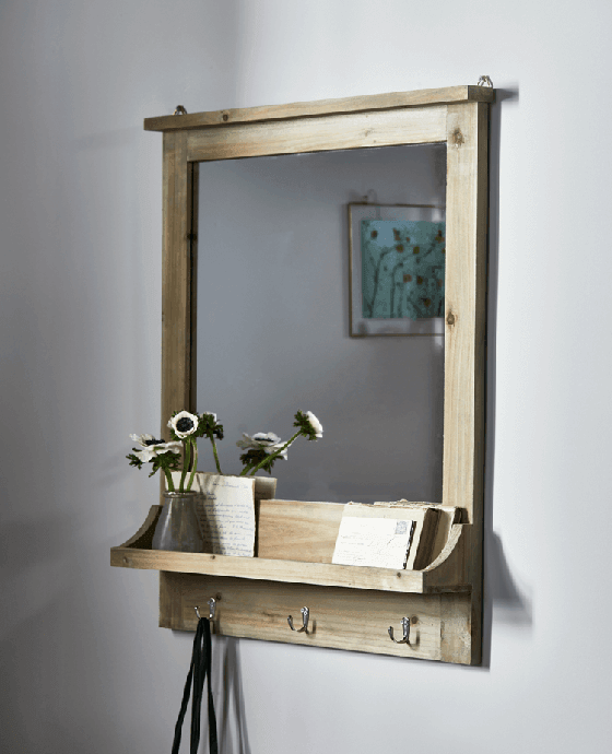 Rustic wooden rectangular mirror with shelf and hooks
