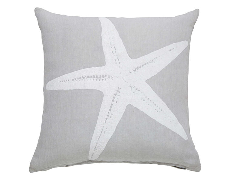 Grey linen cushion cover with white starfish motif