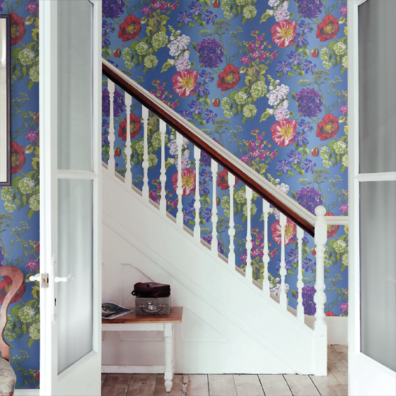 Alexandria Lapis contemporary floral wallpaper by Designers Guild in blue