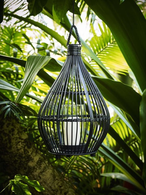 John Lewis large Bamboo Outdoor Lantern in black