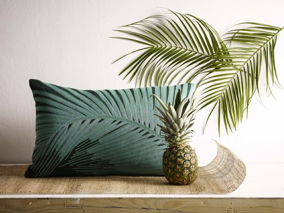 La Selva Edit Palm Frond Oblong Cushion in green