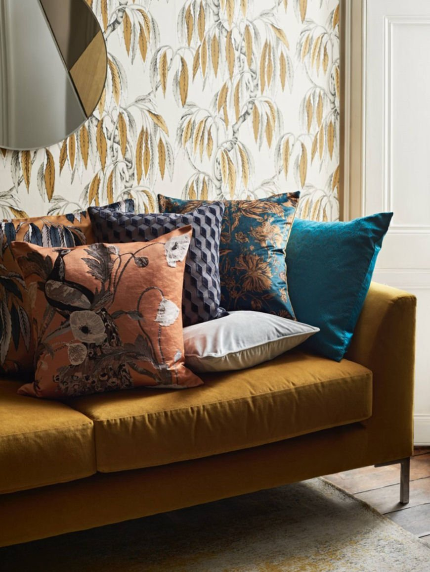 Yellow velvet sofa and multicoloured patterned cushions from the Palazzo Collection by John Lewis & Partners
