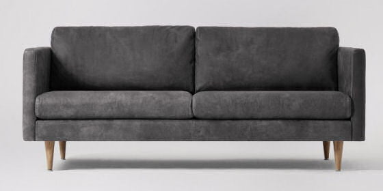 Swoon Tivoli grey compact leather sofa for small spaces