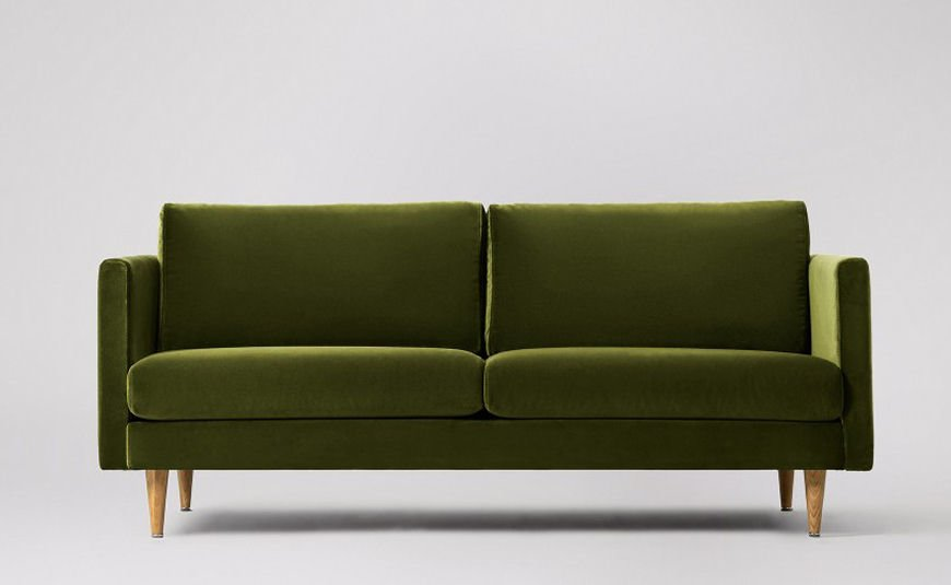 Swoon Editions Tivoli green velvet sofa for small spaces