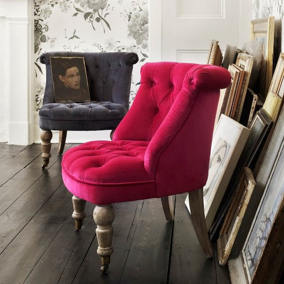 Graham & Green Trianon velvet armchairs for small spaces in pink and grey velvet