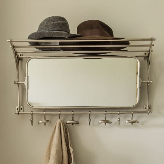 Retro metal oblong tilting mirror with shelf and hooks