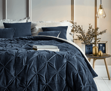 navy cotton velvet quilt with linen backing