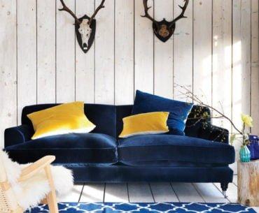 contemporary navy blue velvet sofa