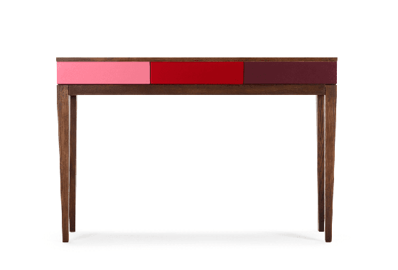Vernay Console Desk in red with storage drawers