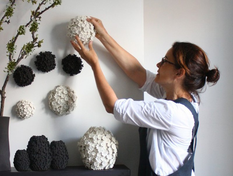 Vanessa Hogge of Wallflowerlondon hanging ceramic flowerheads