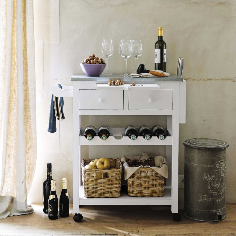 Sorgues white freestanding kitchen island with wheels and storage drawers and baskets