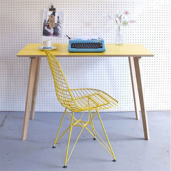 Reto style table with yellow Formica top and oak legs by Winters Moon