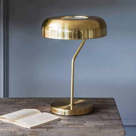 Webster contemporary brass table lamps